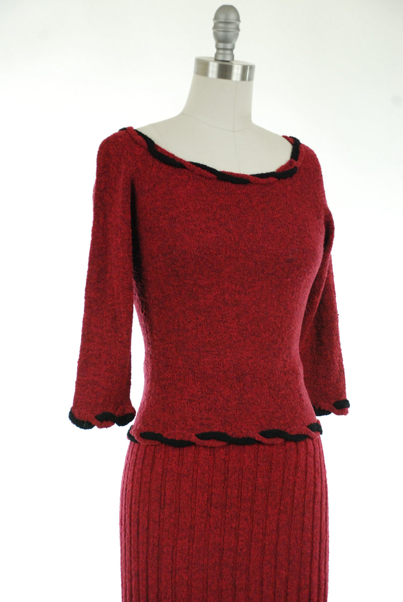 Vintage 1950s Sweater Set - Vintage 50s Knit Set in Black and Fuchsia Boucle with Braided Trim