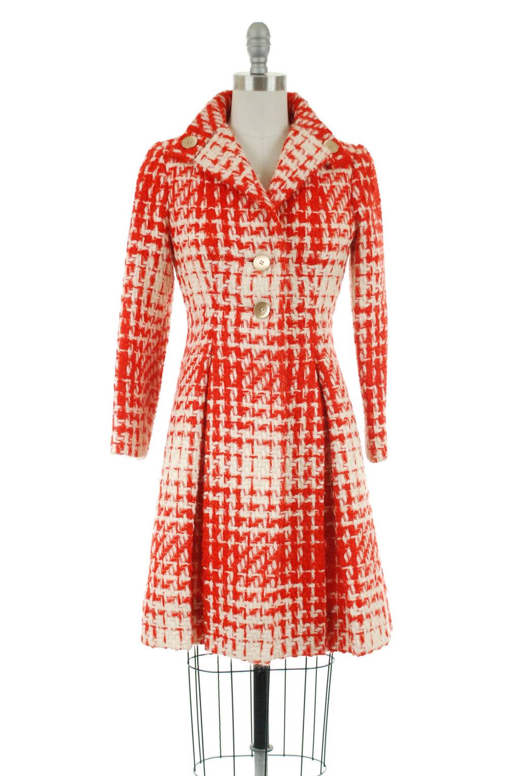 Vintage 1950s Coat - Fantastic Pauline Trigere Bright Red and White Late 50s Princess Coat in Cheery Plaid