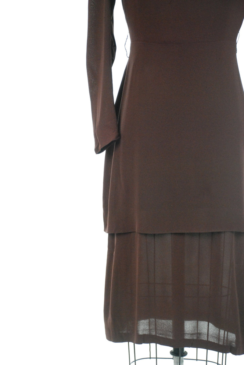 Vintage 1930s Suit - Dark Brown Rayon Crepe Two Piece Dress Ensemble with Edwardian Inspiration