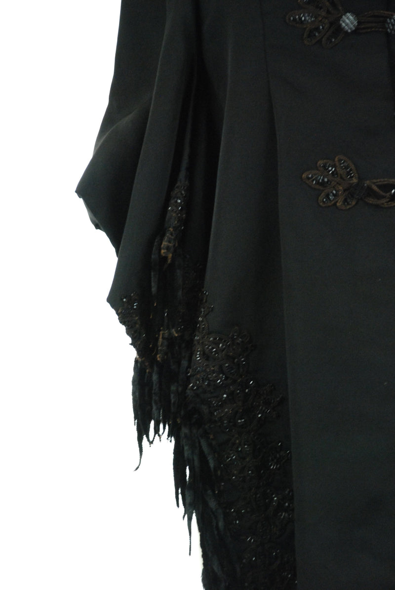 Vintage Victorian Mantelet - c. 1889-91  Victorian Beaded Silk Mantelet with Lappets and Fluttering Velvet Trim