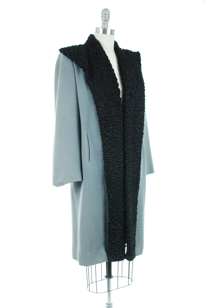 Vintage 1940s Coat -  Rare Early 40s Fur Trimmed Swing Coat in Grey Blue with Black CurlyBroadtail Lamb