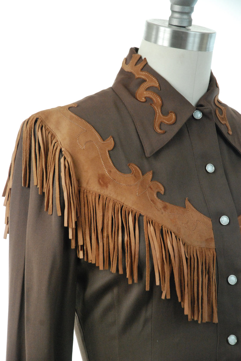 1950s Western Wear - Rare Exceptional 50s Ladies Western Blouse in Chocolate Brown Gab with Suede Applique and Fringe by Hillbilly Westerns