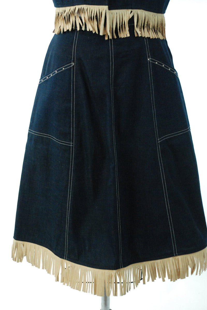 1950s Western Wear  - Killer Vintage 50s Studded and Fringed Denim Western Ensemble with Studded and Fringed Skirt and Vest by Pioneer Wear