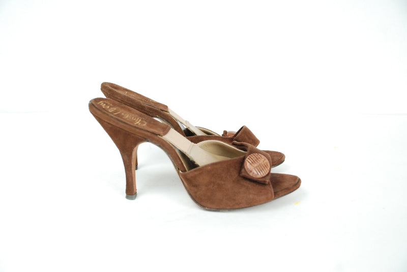 Vintage 1950s Shoes - Size 4.5 - Gorgeous Brown Suede Leather 50s Springolator Mule Style High Heels