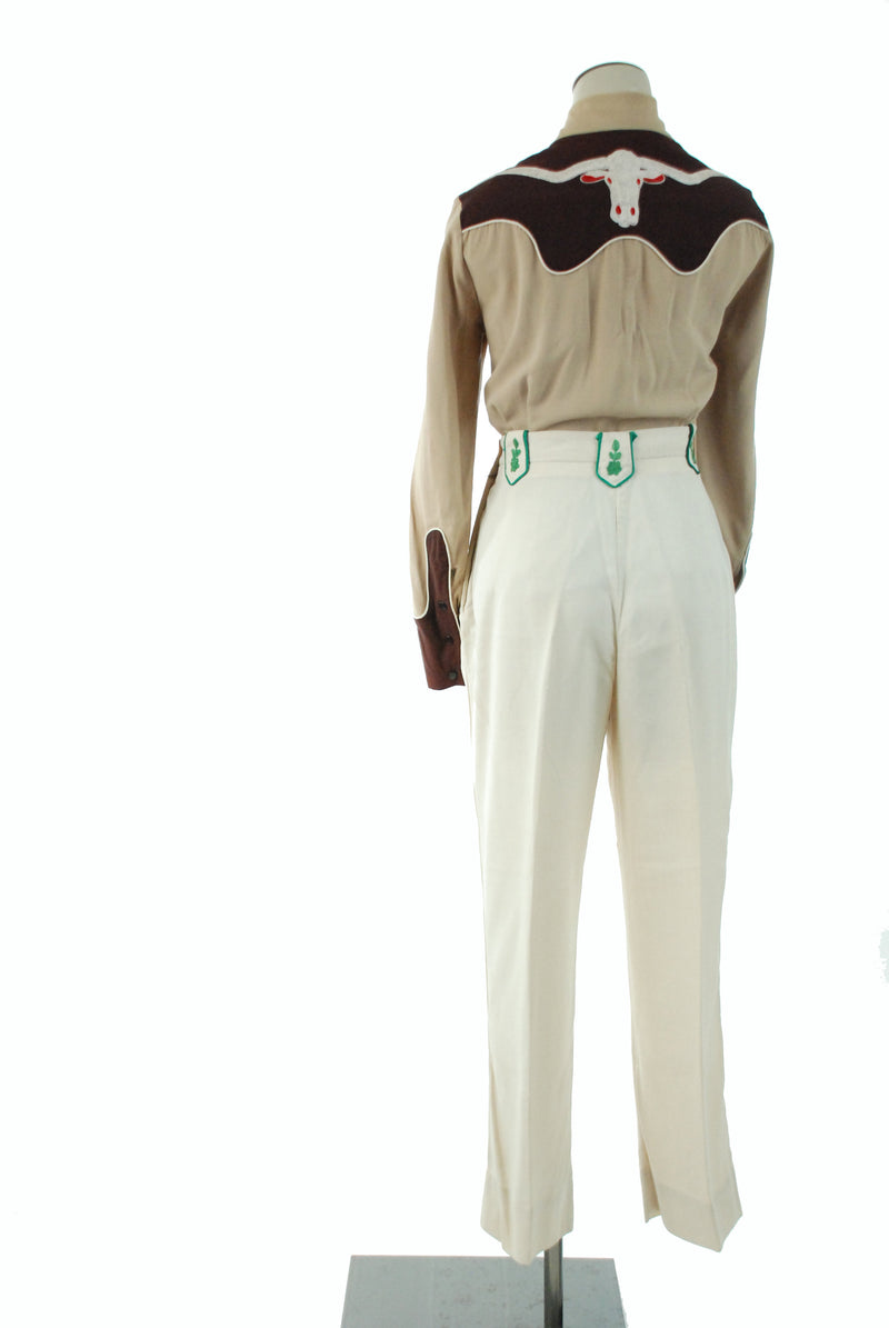 1950s Western Wear - Vintage 50s Ivory Western Pants with Green Embroidered Accents by Frontex Model Irby Thompson