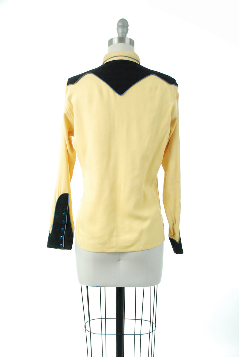 1950s Western Wear - Bold Black and Yellow 50s Ladies Western Blouse in Wool with Blue Piping Trim