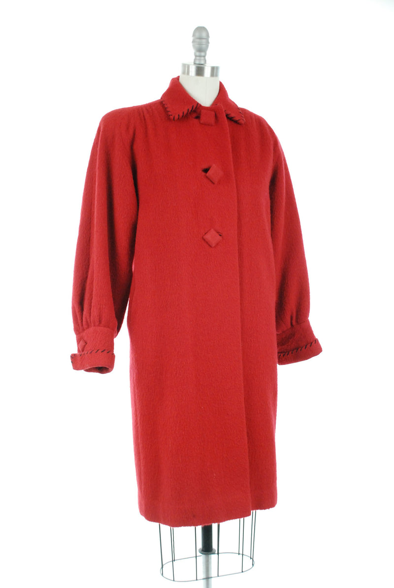 Vintage 1940s Coat - True Red Wool Late 40s Winter Coat with Full Sleeves and Black Top Stitching