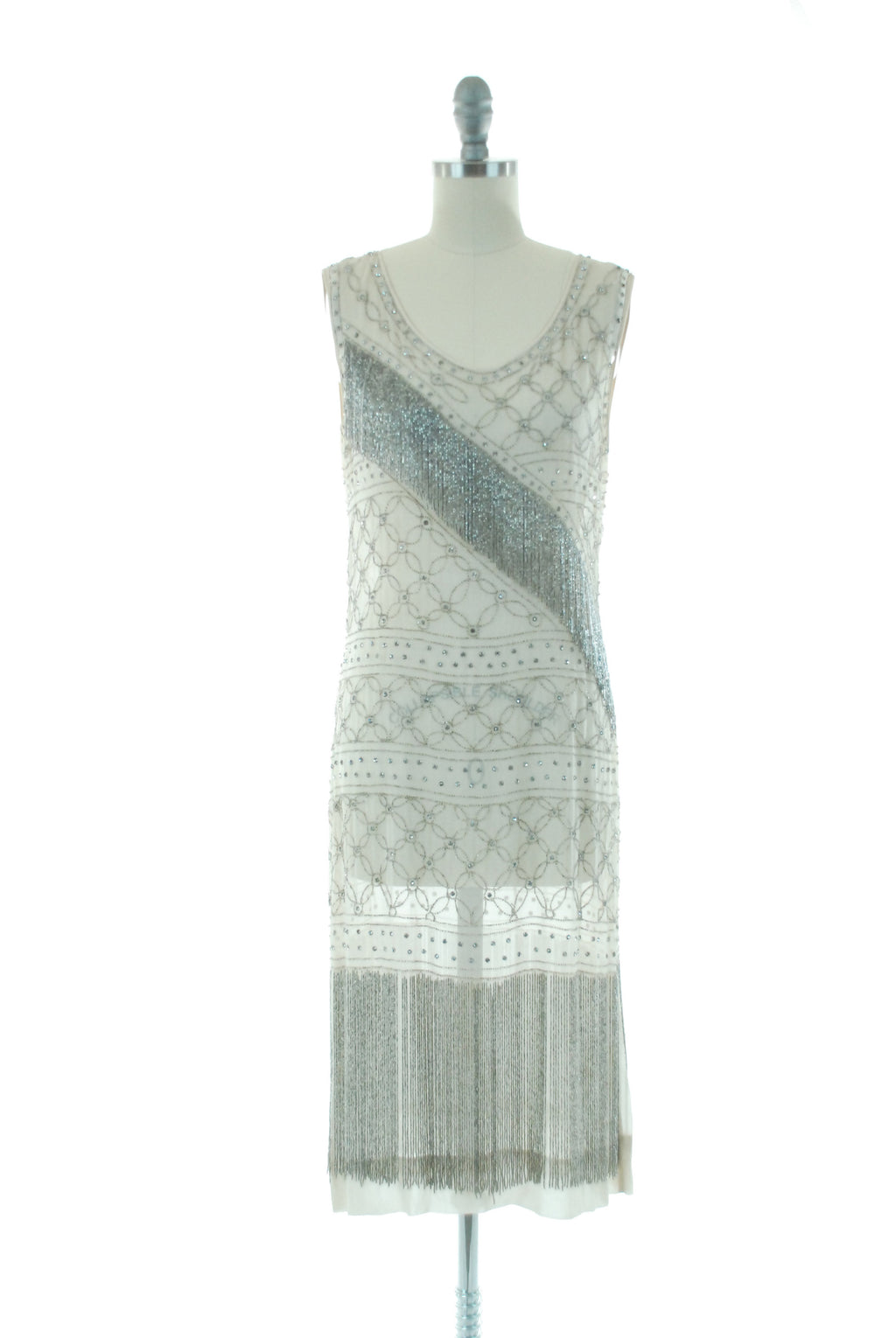 Vintage 1920s Dress - RARE 20s Flapper Dress With Beaded Fringe and Studded Rhinestones in Sheer White