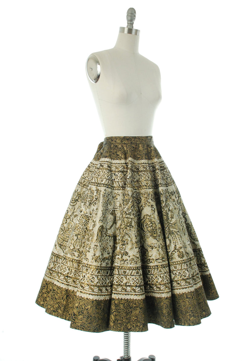 Vintage 1950s Skirt - Gorgeous Mexican Circle Skirt in Dramatic Black and Gold Layered Prints
