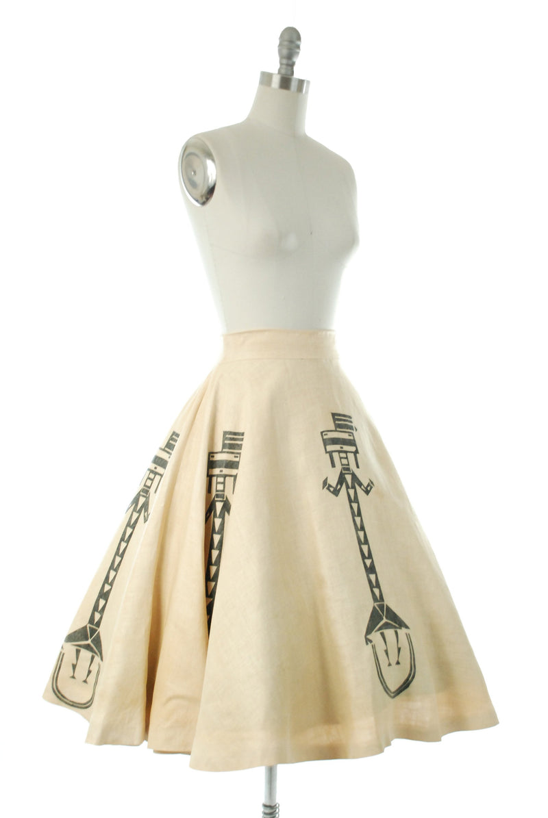 Vintage 1950s Skirt - Fantastic Native American Motif Circle Skirt with Modified Navajo Corn Gods