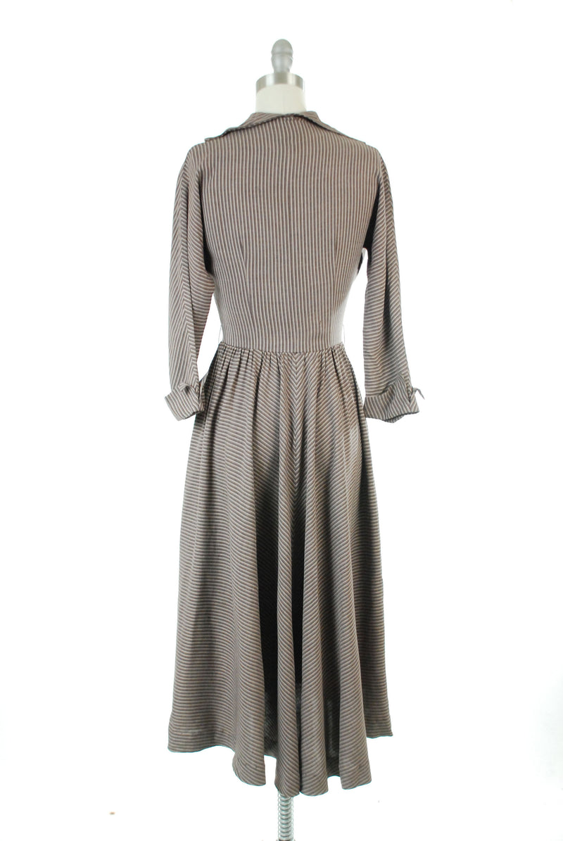 Vintage 1950s Dress - Striking Jonathan Logan Wool Gabardine 50s Day Dress with Nipped Waist and Mitered Stripes