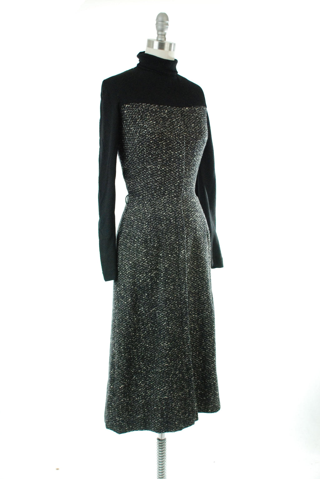 Vintage 1960s Dress - Early 60s Tweed and Knit Winter Dress in Grey, Black and White