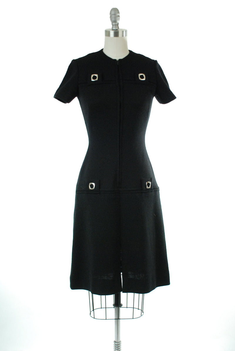 Vintage 1960s Dress - Chic Wool Knit 60s Mod Winter Dress with Front Zipper and Metal Accents
