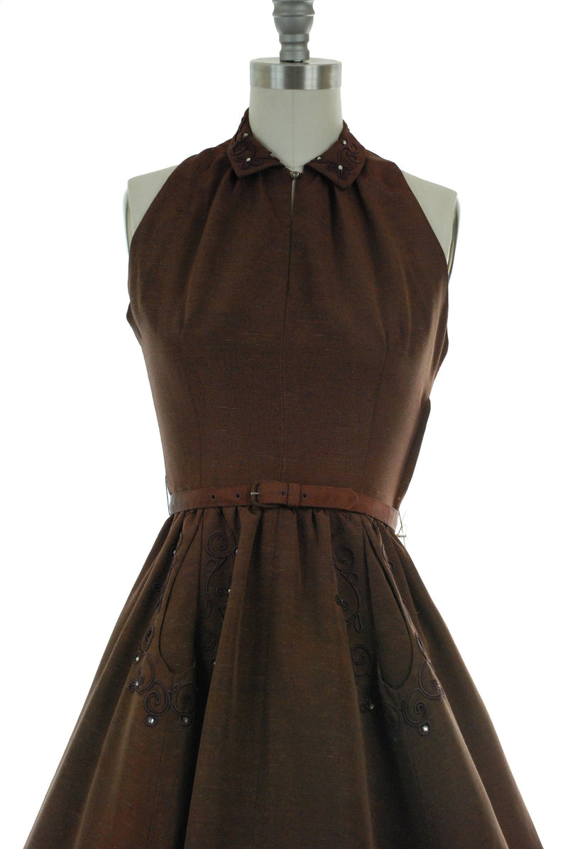 Vintage 1950s Dress - Striking Brown Faille 50s Day Dress with Nipped Waist, Halter Neckline and Soutache Trim