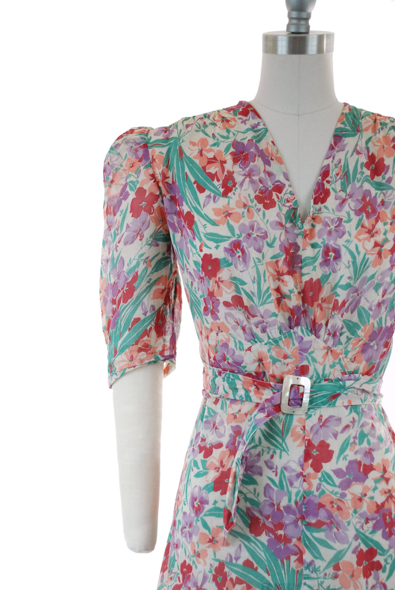 Vintage 1930s Dress - Rich Floral Print Semi-Sheer Cotton Late 30s Day Dress with Purple, Tangerine, Green