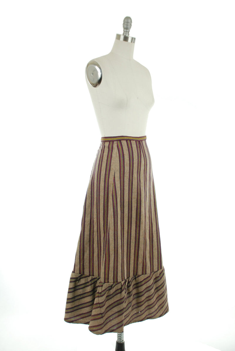 Vintage Edwardian Skirt - As-Is 1910s Striped Wool Skirt Altered in the 70s Navy, Fuchsia, Blue & Yellow on Brown