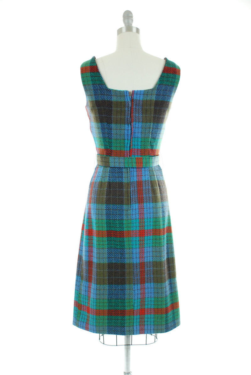 Vintage 1950s Dress - Smart Wool Plaid 50s Dress with Fitted Waist and Original Matching Belt