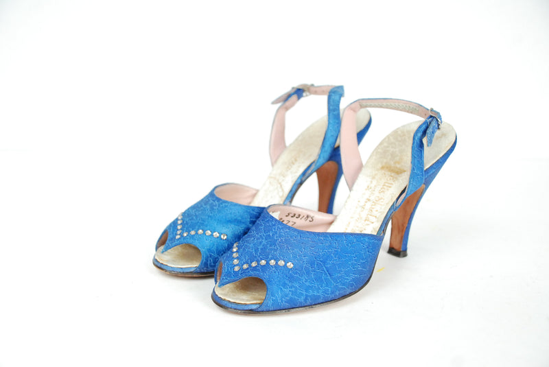 1950s Vintage Shoes - Size 5.5 -  Gorgeous Blue Brocade 50s Slingback High Heels with Rhinestone Accent