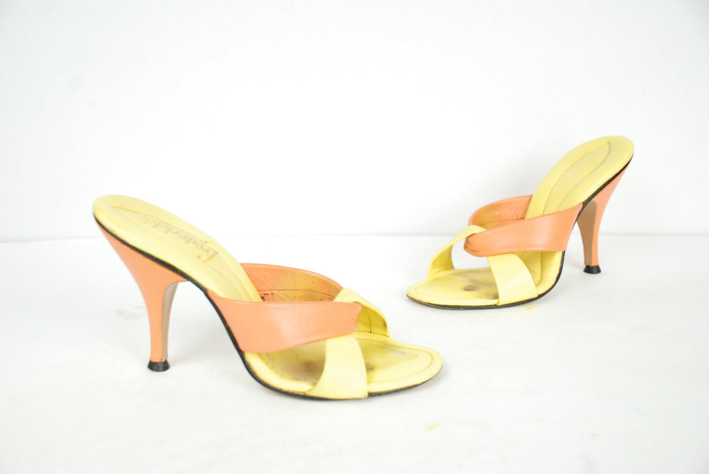 Vintage 1960s Shoes - Size 4-4.5 - Sexy Frederick's of Hollywood Two Tone Colorblock Sandals on Yellow and Orange