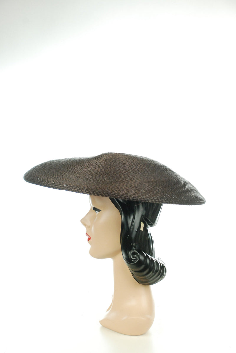 Vintage 1950s Hat - Wide New Look Brown High Fashion 50s Wide Brimmed Summer Hat with Ribbon