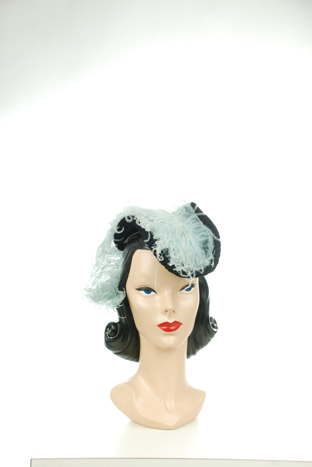 Vintage 1940s Hat  - Exquisite 40s Jersey Wrapped Tilt Hat with Massive Pale Blue Ostrich Feather Plumes