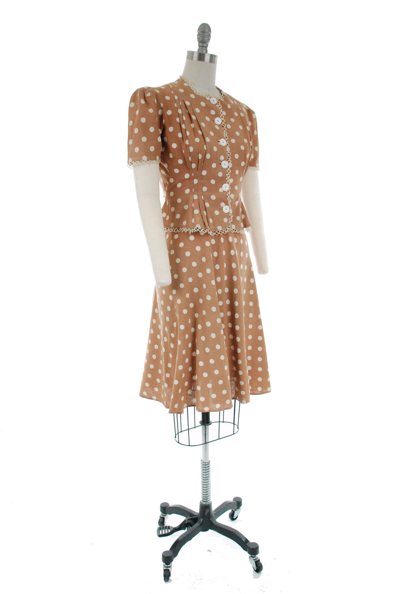 Vintage 1930s Dress - Wonderful Late 30s Slubbed Cotton/Linen Blend Dress Set with Puffed Sleeve Blouse and Flirty Skirt