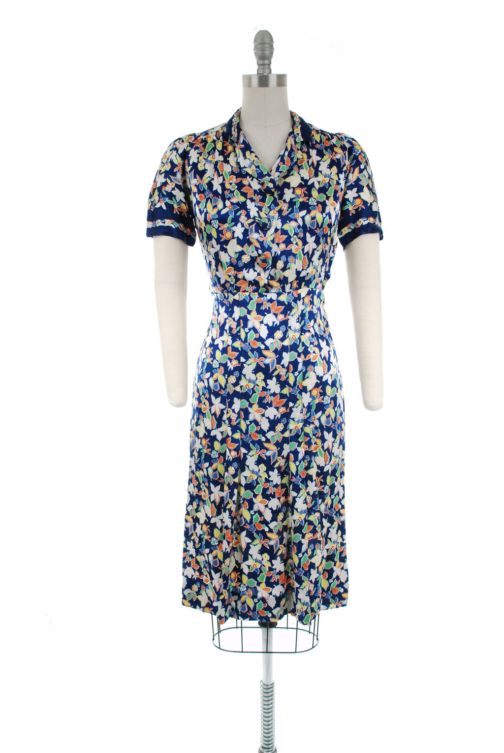 Vintage 1930s Dress - Sensational Navy Blue Printed Charmeuse Satin 30s Day Dress with Bright Spring Colors and Matching Jacket