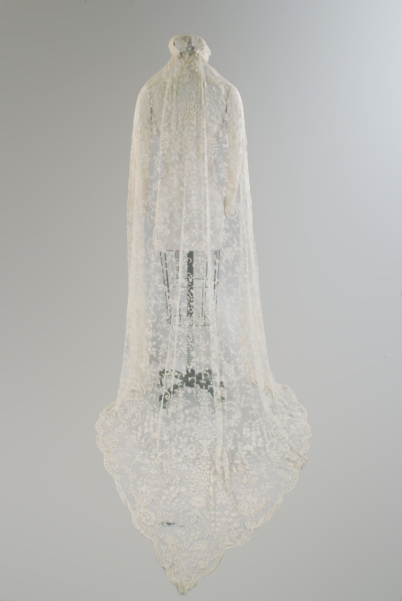 Vintage 1930s Wedding Veil - Antique Tambour Lace Cathedral Length Wedding Veil