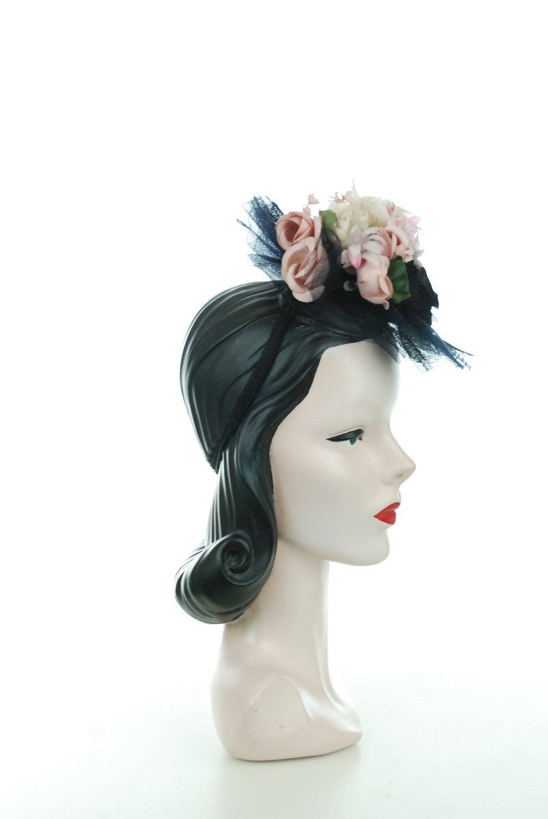 1940s Hat - Gorgeous 40s Tilt Hat in Sheer Black Horsehair Ruffles with Huge Bouquet of Pink and White Millinery Flowers