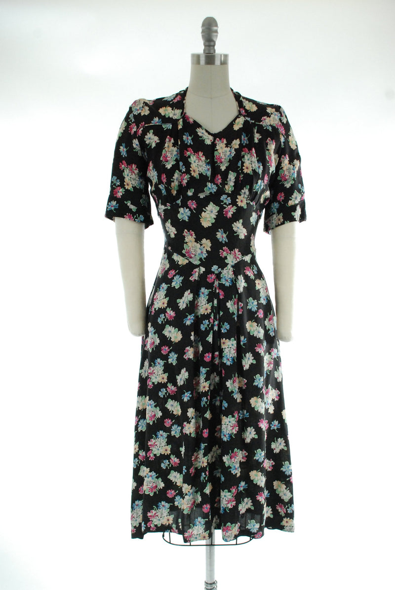 1940s Vintage Dress - Black Rayon Dress with Pastel Bouquets and Flattering Midwaist