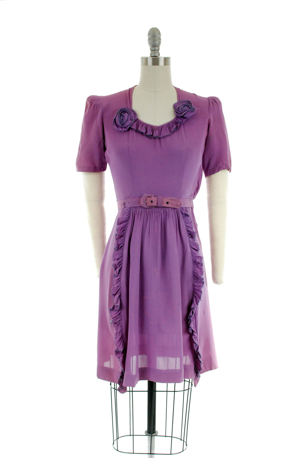 Vintage 1940s Dress -  Beautiful Bold Lilac Rayon Crepe Dress with Ruffles - As Is Wounded Bird