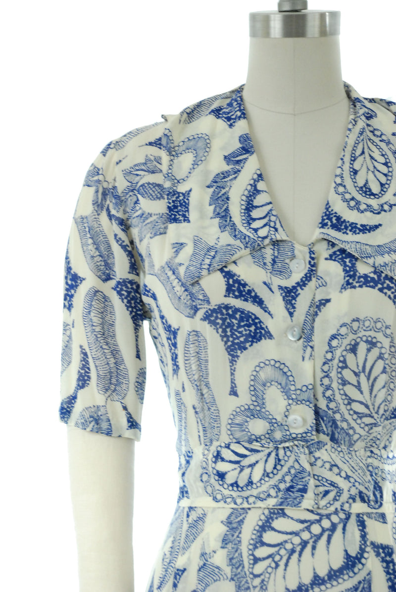 Vintage 1940s Dress - Gorgeous Sheer Bemburg Rayon 40s Summer Dress in Cobalt Blue Paisley Print on White
