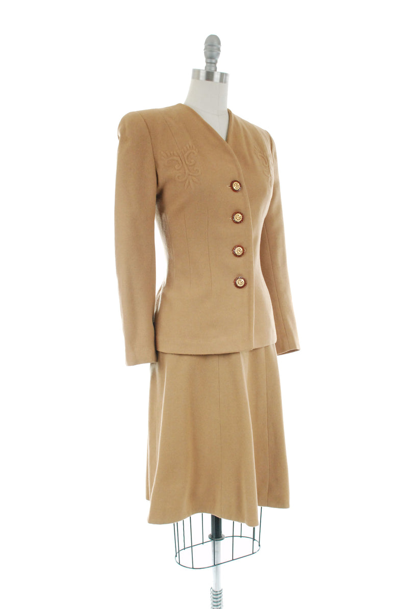 1940s Vintage Suit - Rich Caramel Brown 40s Soft Wool Suit with Trapunto Accents