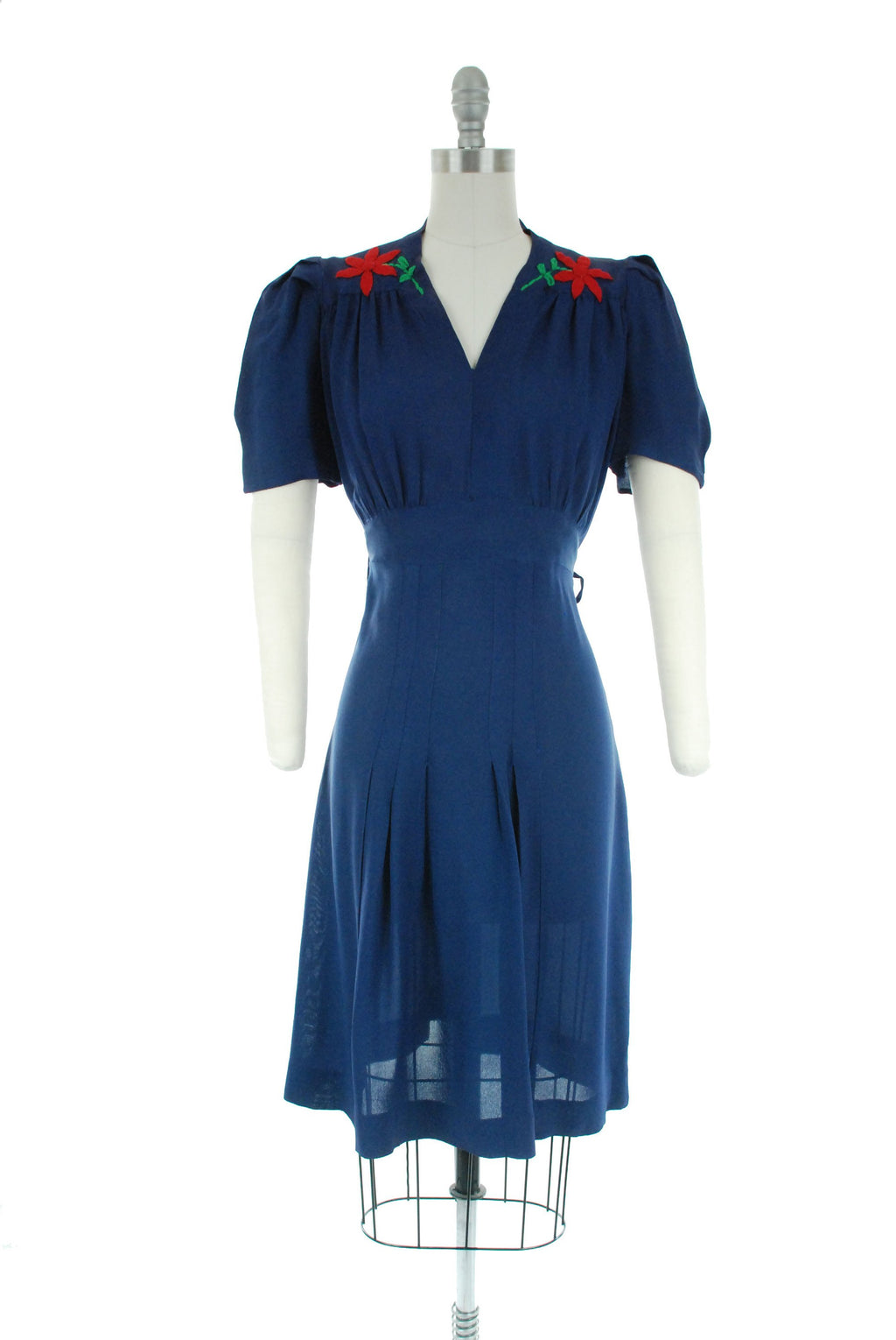 Vintage 1930s Dress Set - Charming Late 30s Homemade Striped Dress in Navy and White Silky Rayon