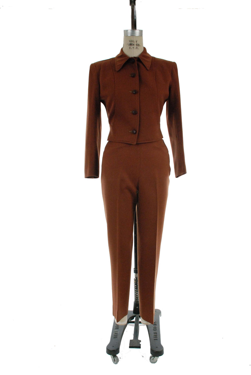 Vintage 1940s Rodeo Suit - Women's H Bar C Ranchwear Brown Wool Whipcord Western Pants and Cropped Jacket with Wrapped Leather Buttons