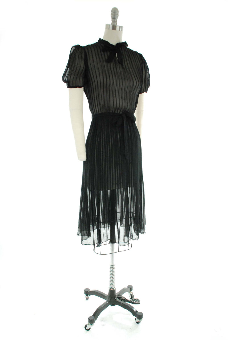 Vintage 1930s Dress - Late 30s Day Dress in Ultra Sheer Black Chiffon with Pintucks and Puff Sleeves - Goth Sweetheart Frock