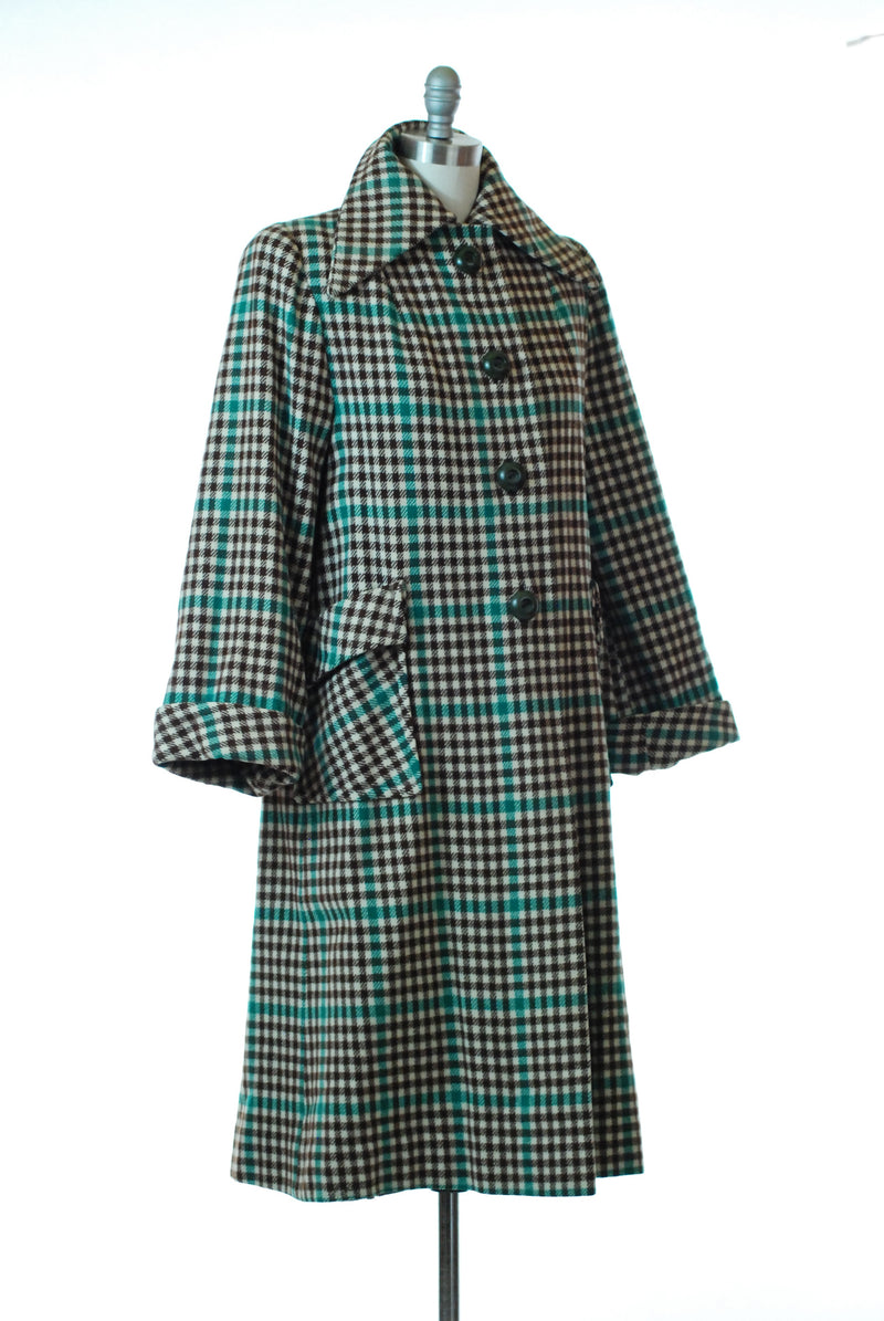 Classic 1940s Checkered Plaid Coat In Cream, Brown and Green with Large