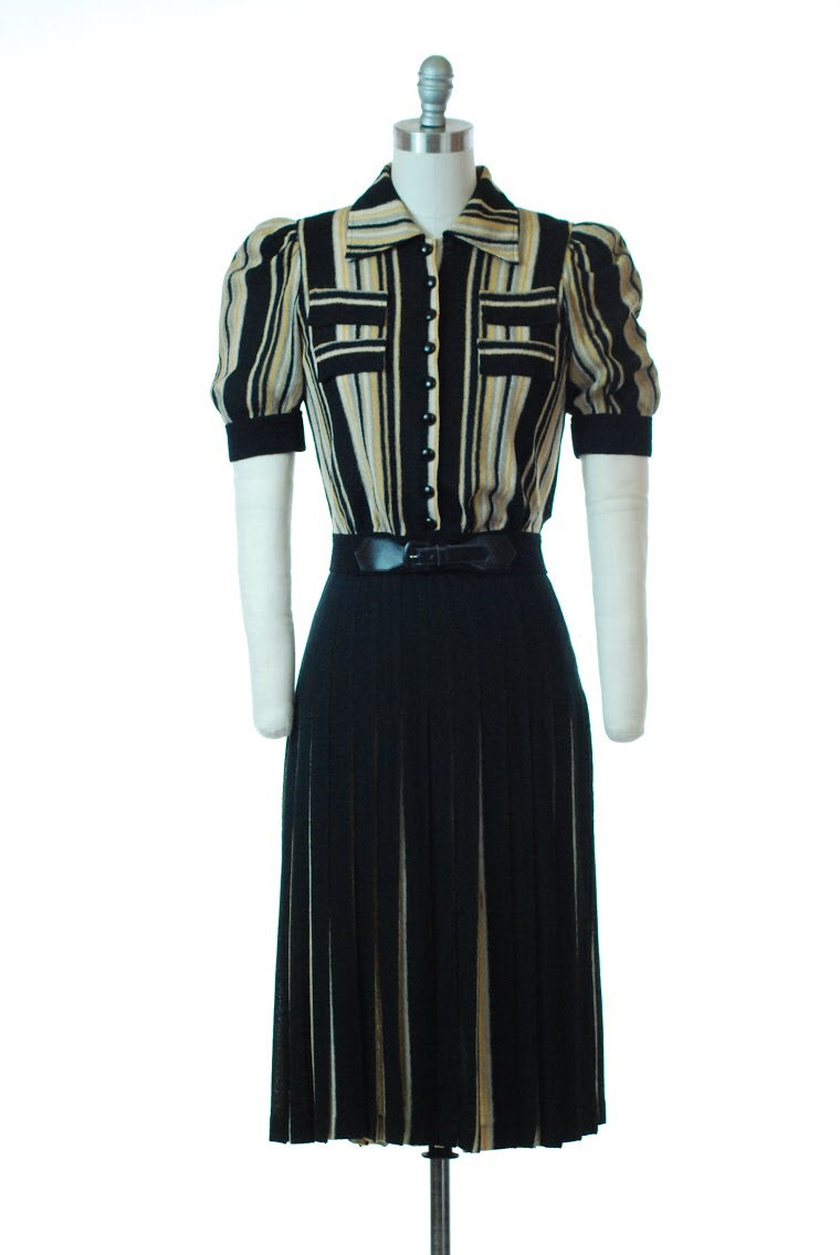 Rare Late 1930s Unique Two Piece Dress in Black, Mustard, Grey & Ivory