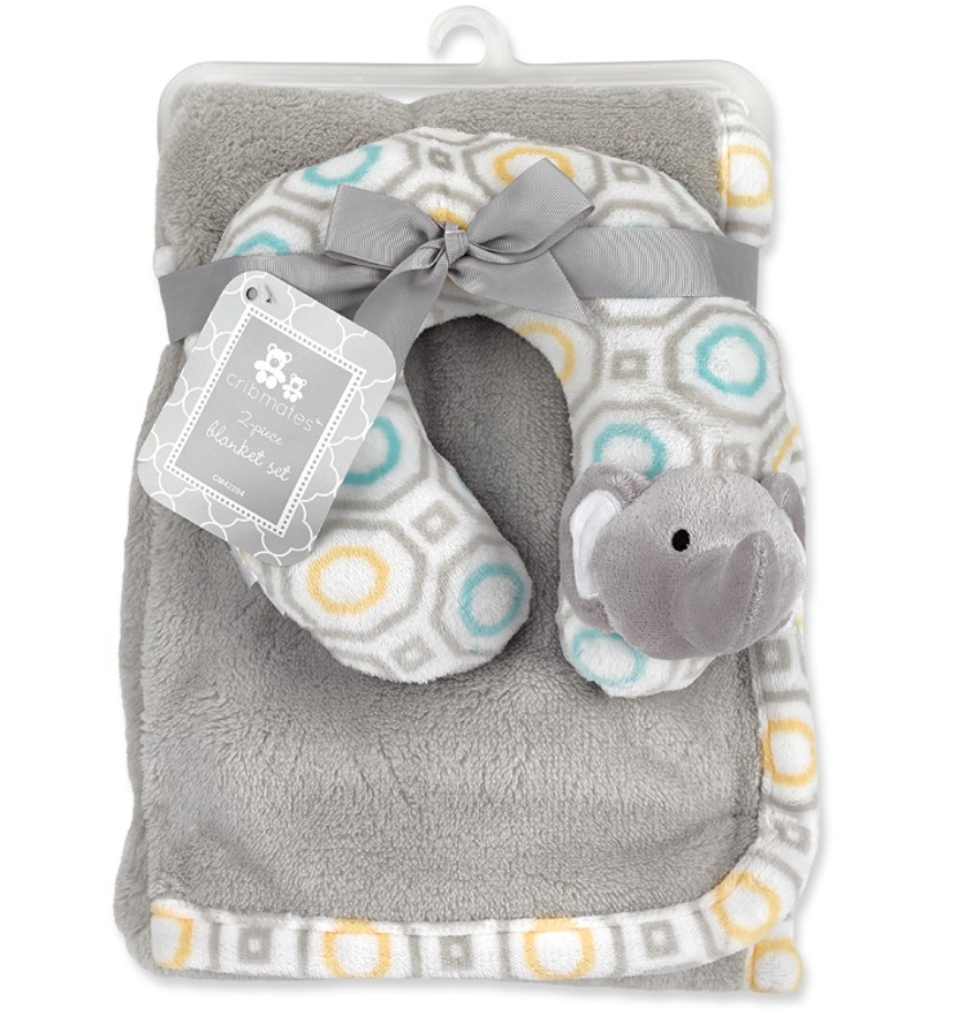 Blanket with Neck Support - Elephant (Grey & Pink)/Owl/Dolphin