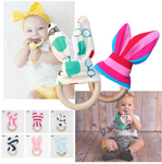 Organic Wooden Bunny Ear Teething Ring