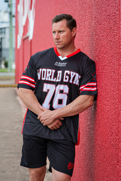 Mens Red Gridiron Jersey T-shirt - Black and Red, X Small