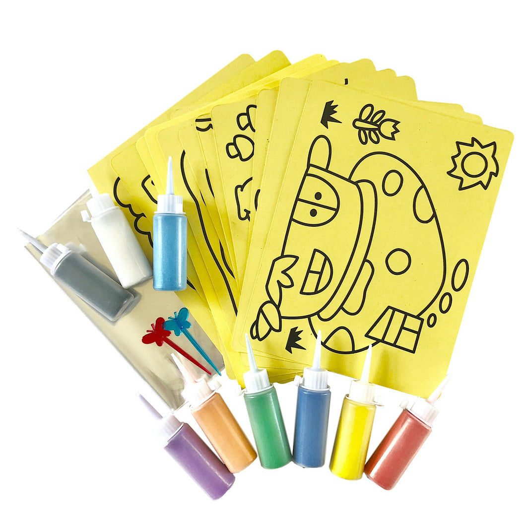 Sand Art Party Pack for 12 (with Template Cards)