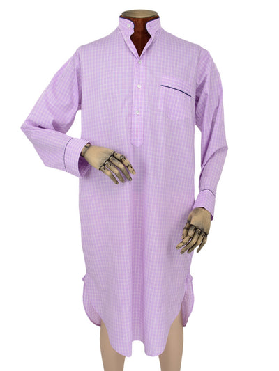 Classic Nightshirt in a Purple, Blue & White Check Poplin Cotton with Navy Piping
