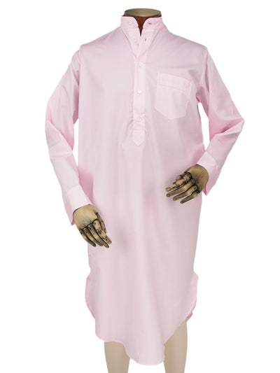 Classic Nightshirt in a Plain Pink Poplin Cotton with White Piping
