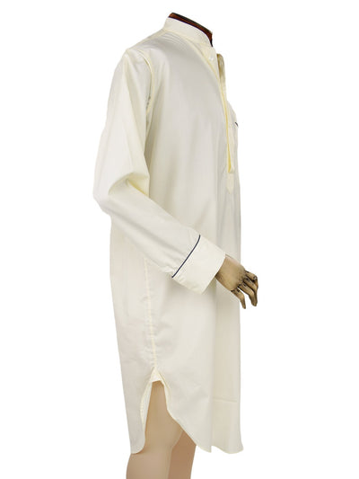 Classic Nightshirt in a Plain Cream Poplin Cotton with Navy Piping