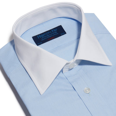 Classic Fit, Classic Collar, Double Cuff Shirt in a Plain Sky Blue End-On-End Cotton