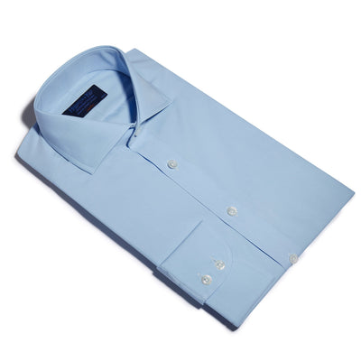 Classic Fit, Cutaway Collar, 2 Button Cuff Shirt in a Plain Ice Blue Poplin Cotton