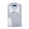 Classic Fit, Classic Collar, Double Cuff Shirt in a Light Grey End-On-End Cotton
