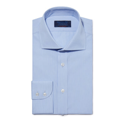 Contemporary Fit, Cut-away Collar, 2 Button Cuff Shirt in a Plain Sky Blue Hairline Cotton