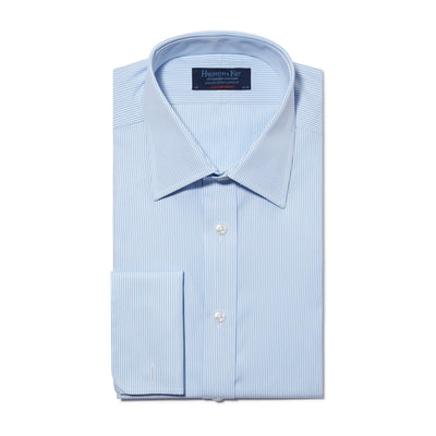 Contemporary Fit, Classic Collar, Double Cuff Shirt in a Blue & White Fine Bengal Poplin Cotton